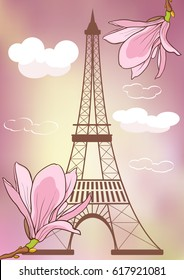 Spring in Paris. Vector illustration with Eiffel tower and blooming magnolia