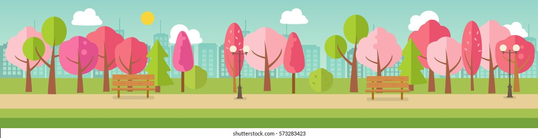 Spring park panorama with pink  and green trees, benches, path, city silhouette, vector banner