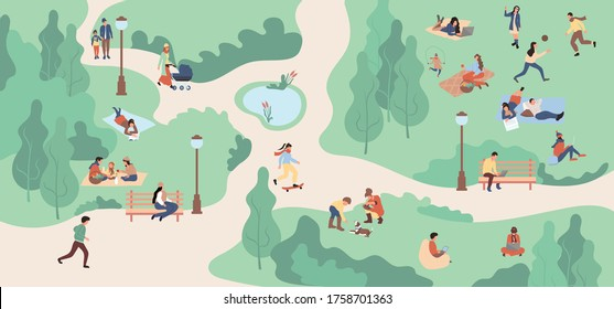 Spring park zone with people. Vector illustration.