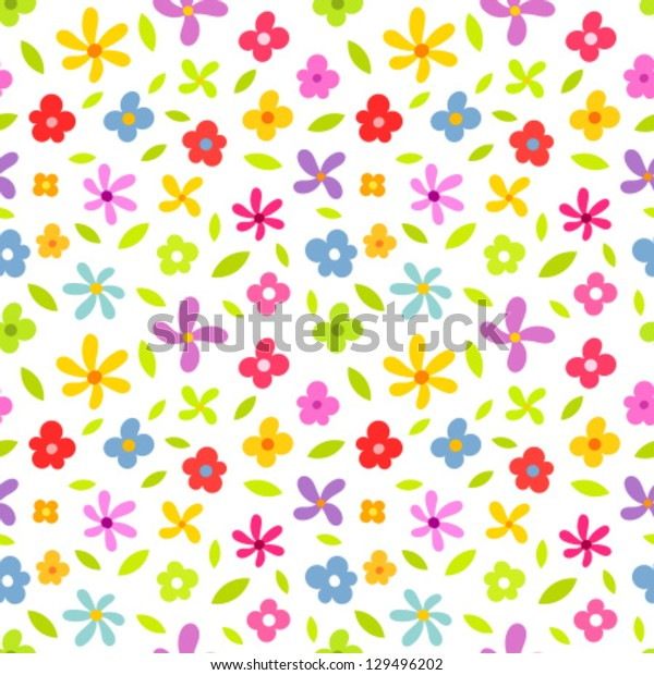 Spring pattern with colorful flowers. Vector illustration