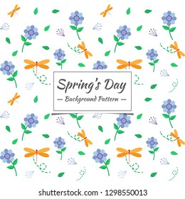 ecefc1fbf1c4 Spring pattern with flowers and small animals. The motifs that are  scattered randomly look beautiful