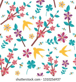 Spring pattern with icons. Springtime seamless background for wrapping paper or print.