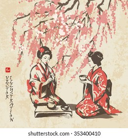 Spring picture with branches of an Oriental cherry and two girls having tea. Hand-drawn sketch. Vector illustration.