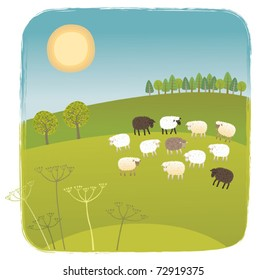 Spring picture. The flock of sheep on the green pasture.