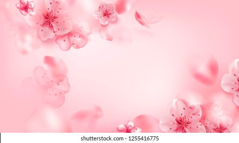 Spring pink vector illustration with cherry blossom flowers, flying petals. Pink sakura.  Blurred abstract background in soft pastel colors.