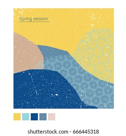 Spring poster,background,banner greeting card, template cover in Japanese pattern style. Blue collage grunge style.