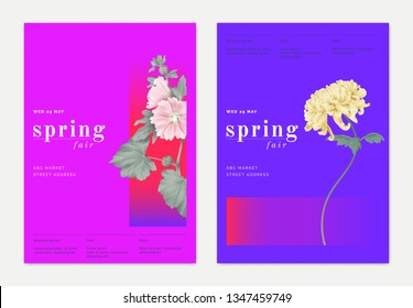 Spring print ad/ poster/ banner template design, pink Alcea or hollyhocks and yellow Chrysanthemum morifolium, vibrant pink and blue theme
