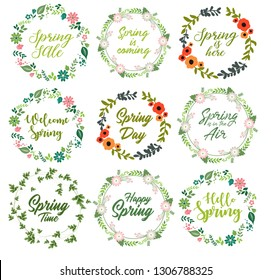 Spring quotes set with floral wreath