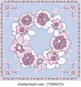 Spring retro floral print. Silk scarf vector graphics.