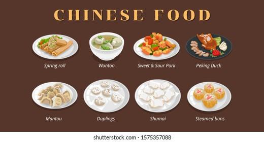 spring roll, wonton soup,sweet sour pork,peking duck,mantou,dumplings,shumai,steamed bun ,dim sum chinese food texture menu vector graphic clipart design