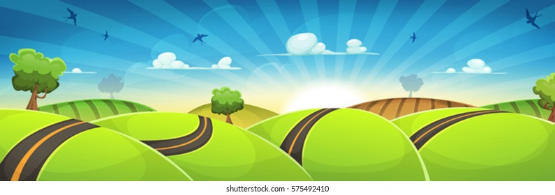 Spring Rounded Landscape With Road And Rising Sun/ Illustration of a cartoon spring and nature wide scene, with road traveling inside green hills landscape in the sunrise