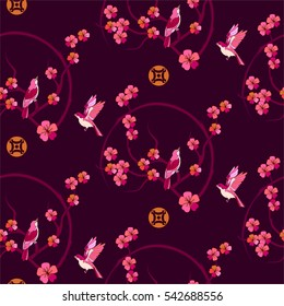 Spring sakura flowers and birds seamless pattern Japanese or Chinese style with blossom branch.