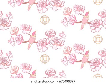 Spring sakura pink flowers and birds seamless pattern Japanese or Chinese style with blossom branch on white background.