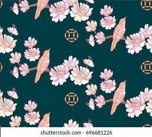 Spring sakura seamless pattern Japanese background.