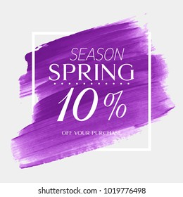 Spring Sale 10% off sign over watercolor art brush stroke paint abstract background vector illustration. Perfect acrylic design for a shop and sale banners.