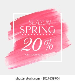 Spring Sale 20% off sign over watercolor art brush stroke paint abstract background vector illustration. Perfect acrylic design for a shop and sale banners.
