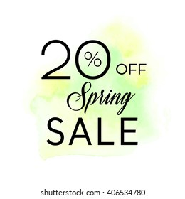 Spring sale 20% off sign over original grunge art brush paint texture background watercolor stroke vector illustration. Perfect watercolor design for shop banners or cards.