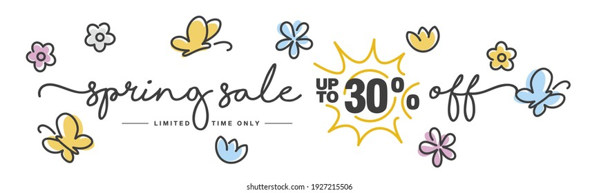 Spring Sale up to 30% off handwritten typography lettering line design colorful flowers butterflies tulips isolated white background