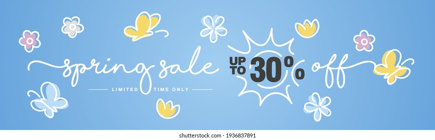 Spring Sale up to 30 % off handwritten typography lettering line design colorful flowers butterflies tulips blue greeting card