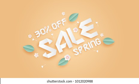 spring sale 30%.illustration of spring sale banner with paper craft style text,flowers,leaf on yellow background.spring sale design paper art style on pastel color.paper art style.vector,illustration.