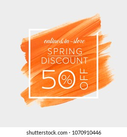 Spring Sale 50% off sign over watercolor art brush stroke paint abstract background vector illustration. Perfect acrylic design for a shop and sale banners.