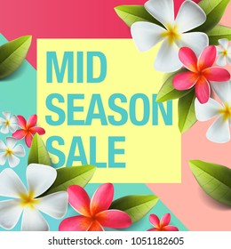 Spring sale background banner with beautiful colorful flower, mid-season sale poster, vector illustration.