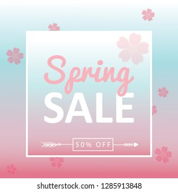 Spring sale background banner with beautiful colorful flower. Vector illustration. - Vector illustration