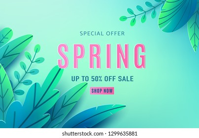 Spring sale background banner with fantasy leaves. Paper cut style with copy space, corner composition. Vector illustration springtime template for flyers, poster, brochure, voucher discount.