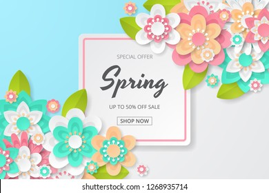 Spring sale background with beautiful colorful flower. Can be used for template, banners, wallpaper, flyers, invitation, posters, brochure, voucher discount. Vector illustration