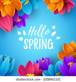 Spring sale background with beautiful flowers. Vector illustration