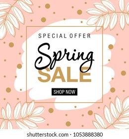 Spring sale background with beautiful flowers. Vector illustration. Frame with colors and words.