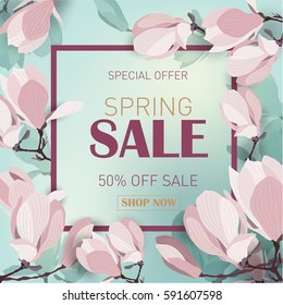 Spring sale background with blooming magnolia. Banner template for promotions, advertising, web sites. Vector illustration.