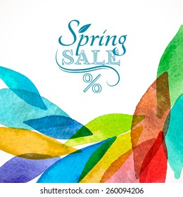Spring sale background colorful rainbow watercolor for card invitation business design