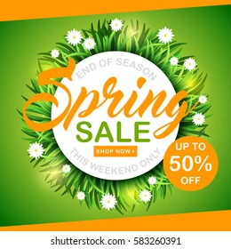 Spring sale background with green grass and flowers. Banner, poster, flyer. 50% Off, shop now. Vector illustration template