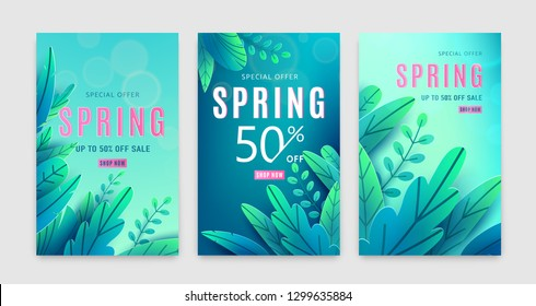 Spring sale background. Springtime discount poster set with bright green blue fantasy leaves, light effect, season type text sign 50 percent off. Promo offer template. Vector illustration.