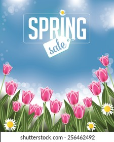 Spring sale Background with tulips and daisies EPS 10 vector royalty free stock illustration for greeting card, ad, promotion, poster, flier, blog, article, social media, marketing