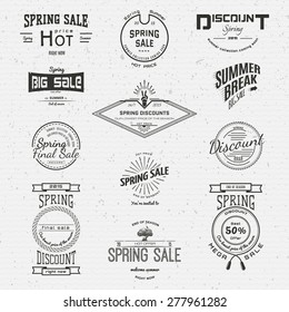 Spring sale badges logos and labels for any usem, on a white background
