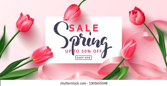 Spring sale banner. Beautiful Background with tulips and ribbon. Vector illustration for postcards,posters, coupons, promotional material.