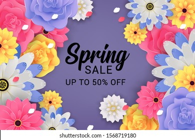 spring sale banner with colorful floral concept on purple background vector