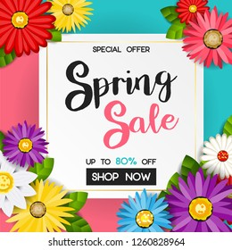 spring sale banner with colorful flower with blue and pink background. vector design for your greetings card, flyers, web banner, invitation, posters, brochure, banners, calendar, spring sale.