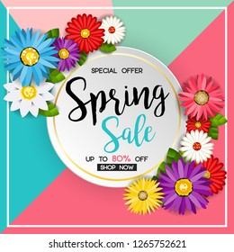 spring sale banner with colorful flower with blue pink and green background. vector design for your greetings card, flyers, web banner, invitation, posters, brochure, banners, calendar, spring sale.