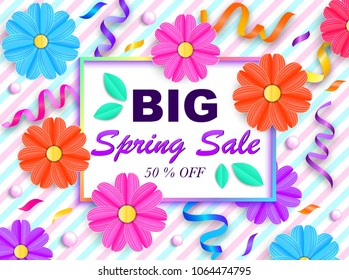 Spring sale banner with colorful flowers, beads and streamer on striprd background. Vector illustration