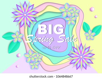 Spring sale banner with colorful flowers,leaves and beads on colorful background. Vector illustration