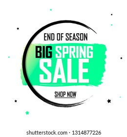 Spring Sale, banner design template, discount tag, grunge brush, app icon. Big sale, end of season, vector illustration