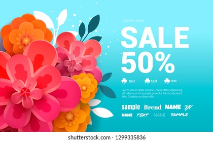 Spring Sale Banner with flowers amd leaves.
