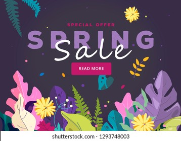 Spring sale banner, leaves and spring flowers on purple background. Spring design for season sale banner, special offer poster, flyer, web site, vector illustration. Fashion sale banner for website