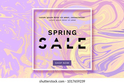 Spring Sale banner on liquid paint background. Template for advertising. Element for graphic design - poster, flyer, brochure, card. Vector illustration.