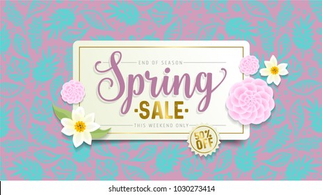 Spring Sale Banner. Paper cut Floral card. Spring blossom. Happy Women's Day. 8 March. Text. Seasonal holiday. Spring Sale Poster, voucher discount. Memphis style spring summer