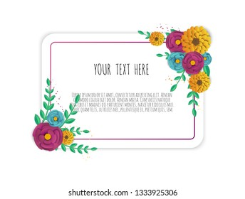 Spring sale banner with paper flowers on a white background.