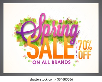 Spring Sale Banner, Sale Poster, Sale Flyer, Sale Vector. 70% Off, Sale Background. Big Sale, Super Sale, Special Offer on All Brands.Vector illustration.